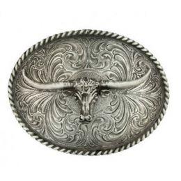 61028 Oval Longhorn Classic Antiqued Attitude Belt Buckle