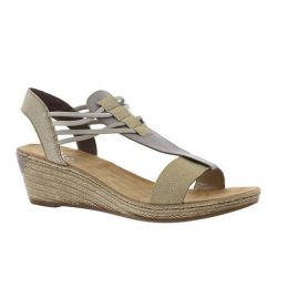Rieker Gold/Grey Fannie 22 Womens Wedge Sandals 62422-90