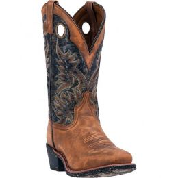 68358 Stillwater Tan Black Square Toe Laredo Mens Western Cowboy Boots