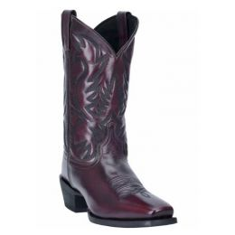 Laredo Men's Lawton Black Cherry Square Toe Leather Cowboy Boots 68448