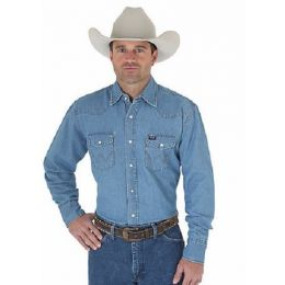 70127SW Denim Cowboy Cut Work Western Long Sleeve Wrangler Mens Shirt