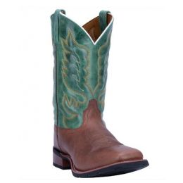 Laredo Men's Tan Square Toe Boot Green Upper 7806