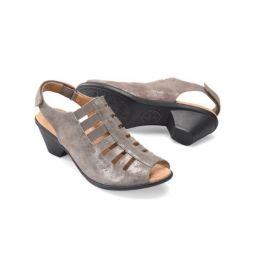 Comfortiva Faye Women's Smoke Foil Suede Sling Black Strap Open Toe Comfort Sandal 8330091