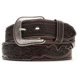 Dark Brown 1 1/2in Basketweave & Floral Tooled Western 3D Mens Belts