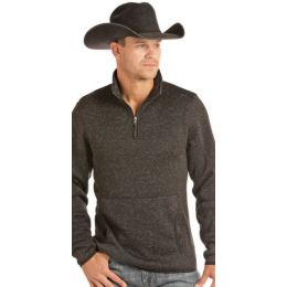 Panhandle Slim Black Powder River Solid Long Sleeve 1/4 Zip Pullover 91-2654