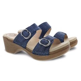 Dansko Sophie Denim Leather Womens Slide On Comfort Sandals 9841-722200