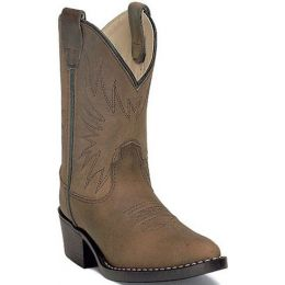1552/1152 Brown Distressed Leather Kids Western Cowboy Boots