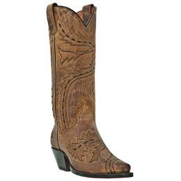 DP3422 SIDEWINDER Tan Snip Toe Dan Post Womens Western Cowboy Boots