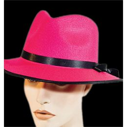 H-102 HOT PINK FELT GANGSTER HAT