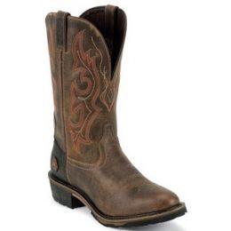 WK4644 Distressed Brown Rugged Utah Justin Mens Western Work Boots