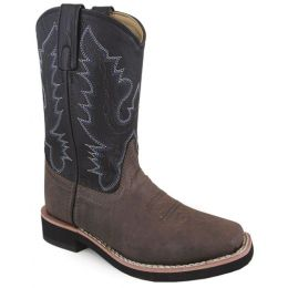 Smoky Mountain Tyler Square Toe Brown/Black Kids Western 1625