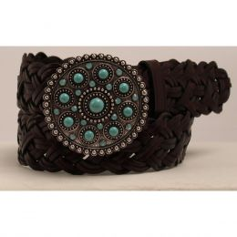 A1517602 Women's Ariat Braided Belt with Medallion Buckle