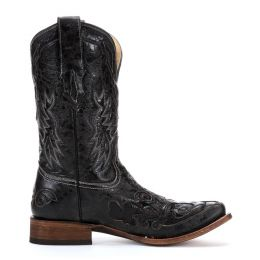 Distressed Goat With Python Inlay Square Toe Corral Mens Western Boots