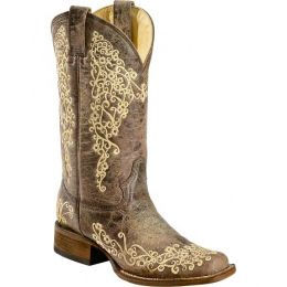 A2663 Corral Brown Crater Embroidered Square Toe Western Cowgirl Boots