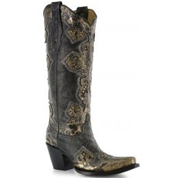 A2859 Metallic Gold Cross Snip Toe Corral Womens Western Cowboy Boots