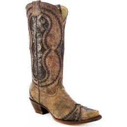 Corral Glitter Diamond Inlay Snip Toe Cognac Womens Western Boots A3109