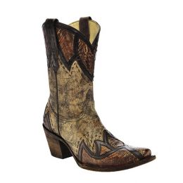 A3113 Sand Ostrich Leg Patchwork Short Corral Women's Western Boots