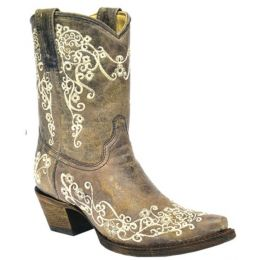 Corral Bone Crater Embroidery Womens Snip Toe Short Boots A3190