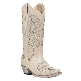 Corral Glitter and Crystal Inlay White Wedding Womens Boots A3322