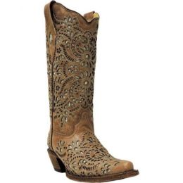 Corral Brown Glitter Inlay and Ebroidered Womens Western Boots A3352