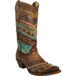 Corral Turquise/Brown Embroidery and Studs Womens Western Boots A3381