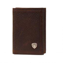 A35122282 Brown Rowdy Men's Shield Logo Trifold Wallet