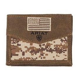 Ariat Brown Patriot Digital Camo Flag Bifold Wallet A3536844