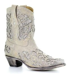 Corral Glitter Inlay & Crystals Womens Short Western Boots A3550