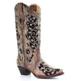 Corral Brown Black Inlay Floral Embroidery Studs and Crystals Womens Western Boots A3569