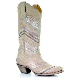 Corral Metallic Studded & Embroidery Snip Toe Womens Cowgirl Western Boots A3604