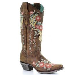Corral Tan Deer Skull Overlay and Floral Embroidered Womens Boots A3652
