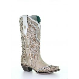 Corral White Overlay Studded Womens Snip Toe Boots A3837