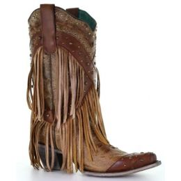 Corral Brown Overlay & Studs & Fringe Womens Western Boots A3845