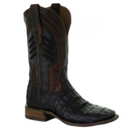 Corral Oil Brown Caiman Embroidered Mens Square Toe Western Boots A3878