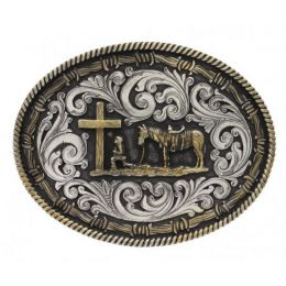Two Tone Rope & Barbed Wire Christian Cowboy Attitude Buckle