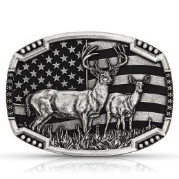 Montana Silversmith Matched Pair Deer Flag Buckle A785S