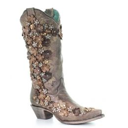 Corral Handcrafted Floral Womens Snip Toe Western Boots A3602