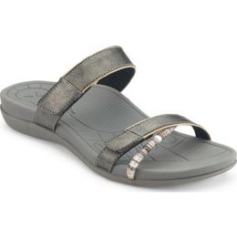 Aetrex Kori Pewter Adjustable Straps Comfort Womens Sandals AE236