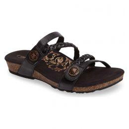 Aetrex Black Janey Braided Womens Slide Sandal SC530