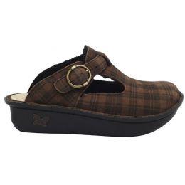 Alegria Brown Plaid Classic Kickin it Shearling Clog Shoes ALG-7603