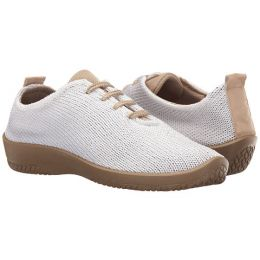 Arcopedico Stretch Knit Lace-Up  White/Tan Womens Comfort Shoes 1151-LS-03
