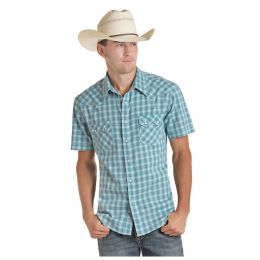Rock And Roll Cowboy Yarndyed Jacquard Plaid Mens Short Sleeve Snap Shirt B1S5089
