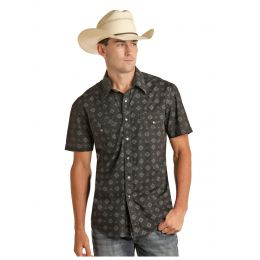 Rock And Roll Cowboy Poplin Print Mens Short Sleeve Snap Shirt B1S5091