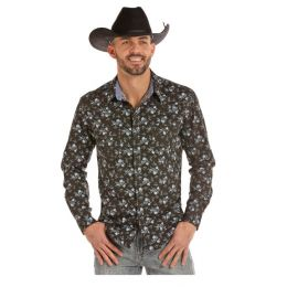 Panhandle Slim Crinkle Washed Poplin Print Mens Long Sleeve Snap Shirt B2S2308