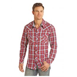 Panhandle Slim Crinkle Washed Herringbone Plaid Mens Long Sleeve Shirt B2S2318