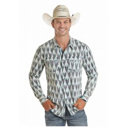 Panhandle Slim Rock And Roll Cowboy Ikat Fabric Mens Long Sleeve Snap Shirt B2S4067