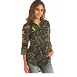 Panhandle Slim Double Face Camo And Stripe Shirt B4B1176