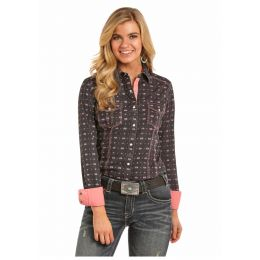 Panhandle Slim Allover Geometric Print Long Sleeve Snap Shirt B4S6036