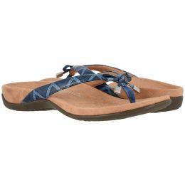 Vionic Navy Chevron Bella II Womens Comfort Thong Sandals