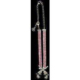 BJ1038PK Pink Crystal With Twin Pistol Boot Jewlery